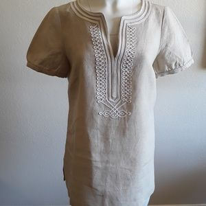 MICHAEL KORS 100% LINEN TUNIC TOP BLOUSE SIZE 8
